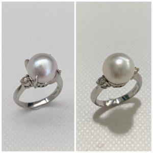 白真珠リング左爪あり右爪なし